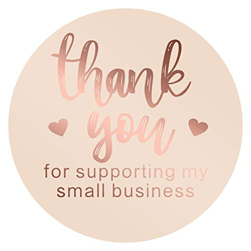 AIEX 1.5 Inch Thank You Sticker Foil Thank You for Supporting My Small Business Labels for Sealing, Decoration(1 Roll, 500 Stickers)