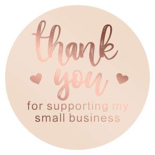 AIEX 3.8cm Grazie Adesivo Thank You for Supporting My Small Business Lamina Etichette Per Sigillatura Decorazione (1 Rotolo 500 Adesivi)