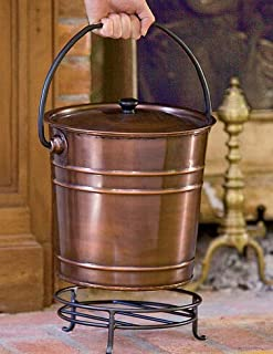 Gardener's Supply Company Steel Copper Finish Fireplace Ash Bucket with Floor Protection Stand, Holds 8 Quarts