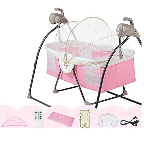 Baby Cradle Bed Bed Bed Newborn Swing Sedia a Dondolo Basket Baske Baby Nest 5-Speed Attaking Frequenza Telecomando Bluetooth con Cuscino per zanzariera, Grigio WTZ012 (Color : Pink)