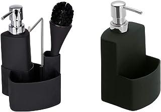WENKO Rangement évier, Distributeur Liquide Vaisselle Porte éponge, Brosse, Noir & Distributeur Liquide Vaisselle, Distrib...