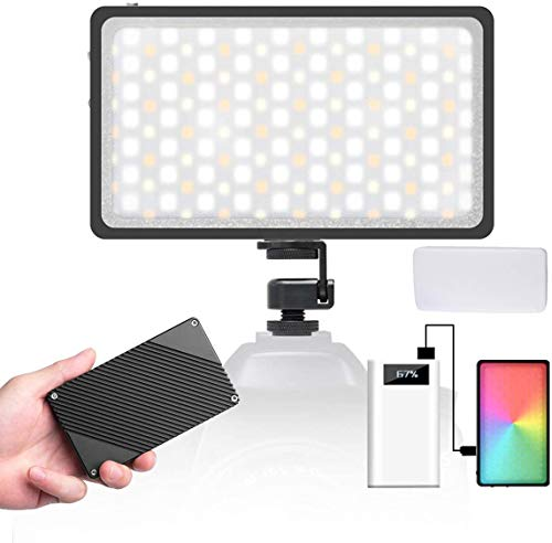 Moman RGB LED-Videoleuchte mit Diffusor, Kamera Licht, 2500K-8500K Dimmbare Videolicht, CRI96+ Panel Fotolampe Videolampe, Klein mit Magnet eingebautem Akku, Dauerlicht für DSLR Sony Canon Nikon