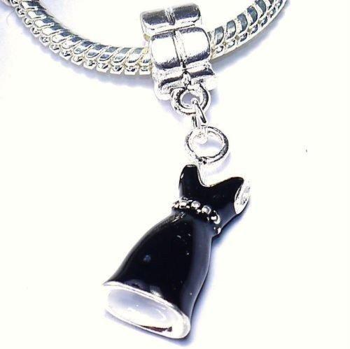 EGB EvesErose - Abalorio para Pulseras Pandora y similares, Plata Envejecida, diseño de Vestido Negro