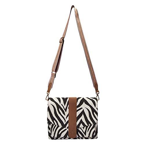 CODELLO Damen Satchel-Bag mit Zebra-Dessin aus Canvas
