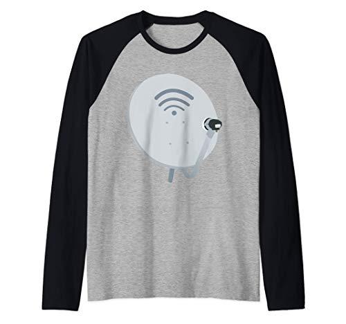 Antena de TV de traje divertido para plato de satélite Camiseta Manga Raglan