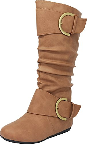 Cambridge Select Pull-On Slouchy Mid-Calf Round Toe Buckle Boot,7.5,Taupe