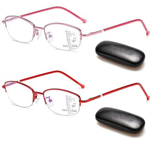VEVESMUNDO Multifokal Anti Blaulicht Lesebrille Gleitsichtbrille Damen Metall Halbrahmen Gleitsichtgläser Computer Blaulichtfilter Sehhilfe Lesehilfe Brillen mit sehstärke (2 Stück Lesebrillen, 1.5)