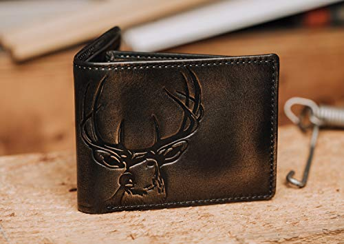 HOJ Co. DEER Bifold Wallet with Flip ID | Full Grain Leather With Hand Burnished Finish | Extra Capacity Men's Leather Wallet | Deer Wallet…