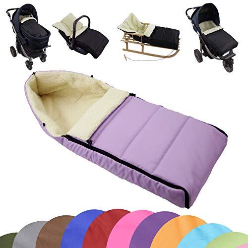 BAMBINIWELT universaler Winterfußsack (90cm), auch geeignet für Babyschale, Kinderwagen, Buggy, aus Wolle UNI liniert (flieder)