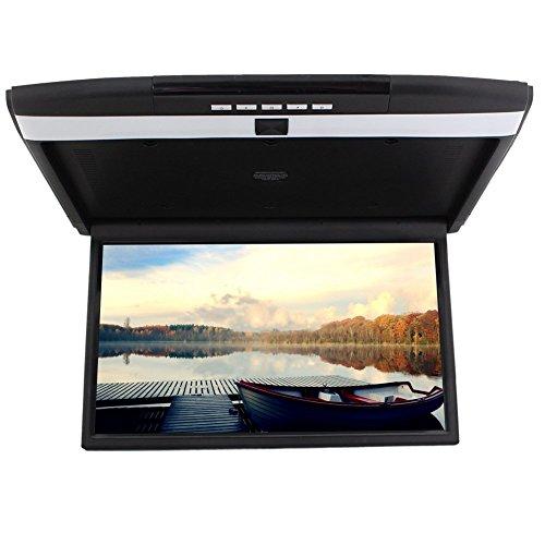 Moniteur de toit à écran LCD de 17 pouces haute résolution moniteur supérieur d'affichage de voiture Flip Down prise en charge aérienne HDMI FM transmettre entrée SD/USB