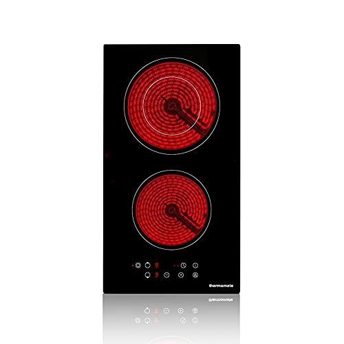 Thermomate CHTB302 30cm Placa Vitrocerámica Integrada, Placa de Cocción Eléctrica de 2 Zonas con Sensor de Control Táctil, Temporizador, Bloqueo Para Niños, Potencia de 3200W, Vidrio Negro