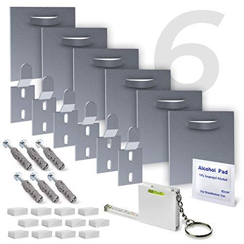 MOISHO® [6-er Set] selbstklebende Alu Dibond und Acrylglasbild Befestigungsset komplett für Bilder und Spiegel - Spiegelhalterung Bildaufhänger Haftblech Wand-Halterung