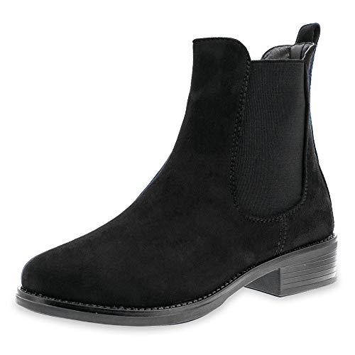 Marimo Damen Stiefeletten Chelsea Ankle Boots Wildlederoptik Blockabsatz Profilsohle Schwarz 38