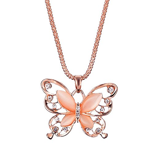 Valentine's Day Gift, Women Necklace, 1PC Fashion Womens Lady Rose Gold Opal Butterfly Pendant Necklace Sweater Chain Hot Jewelry Gift (Rose Gold)