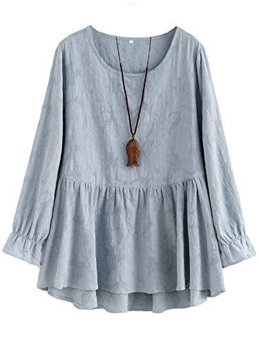 Minibee Women's Cotton Peplum Tunics Dress Ruffle...