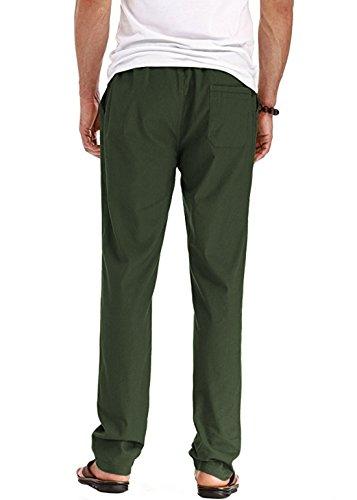 Men's Linen Casual Lightweight Drawstrintg Elastic Waist Summer Beach Pants 4