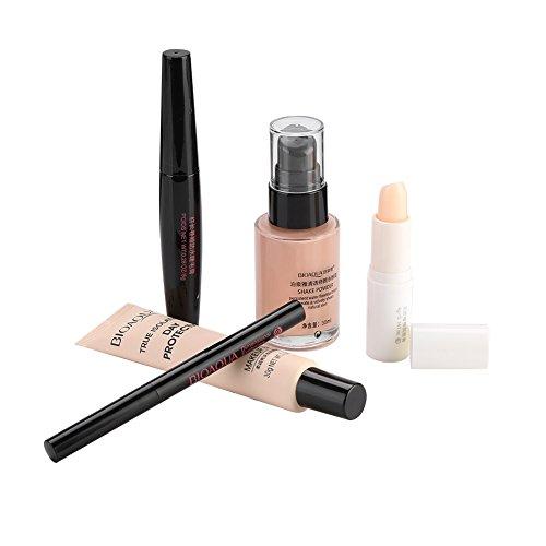 Maquillaje 5 en 1, para principiantes, incluida la base de maquillaje, BB Cream, rímel, bálsamo labial, ceja a prueba de agua y crema BB de larga duración.