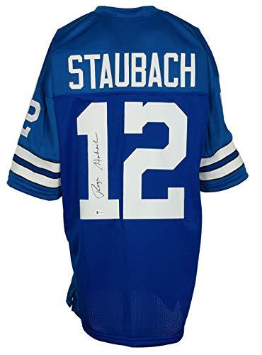 Roger Staubach Signed Custom Blue Pro-Style Football Jersey BAS
