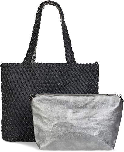 styleBREAKER XXL Wendetasche in Flecht-Optik, Shopper Tasche, 2 Taschen, Handtaschen Set, Bag in Bag, Schultertasche, Damen 02012163, Farbe:Schwarz/Silber