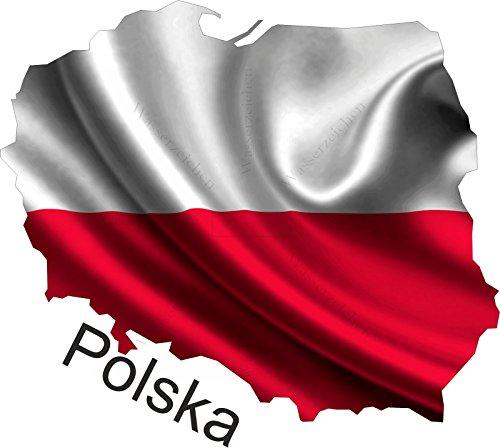 15cm! Aufkleber-Folie Wetterfest Made IN Germany Polen Polska UV&Waschanlagenfest Auto-Sticker Decal Fahne Flagge Wappen Land FD124 Profi Qualität bunt farbig Digital-Schnitt!