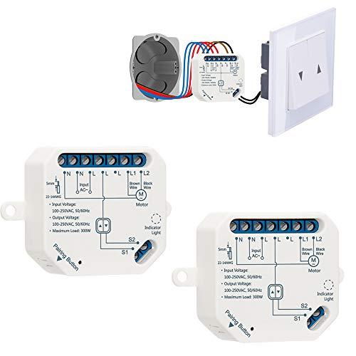 LoraTap 2 Interruptor módulo de persianas conectado, interruptor de cortina wifi, compatible con Alexa Google Home para control de voz, temporizador inteligente motor de pared