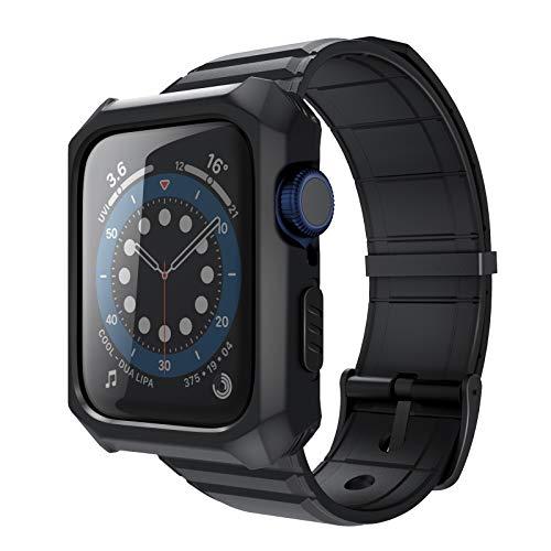 TAURI Compatible con iWatch correa de cristal con carcasa protectora resistente para Apple Watch 44 mm SE Series 4 5 6 y Apple Watch 42 mm Series 3 2 1 – ajustable a prueba de golpes