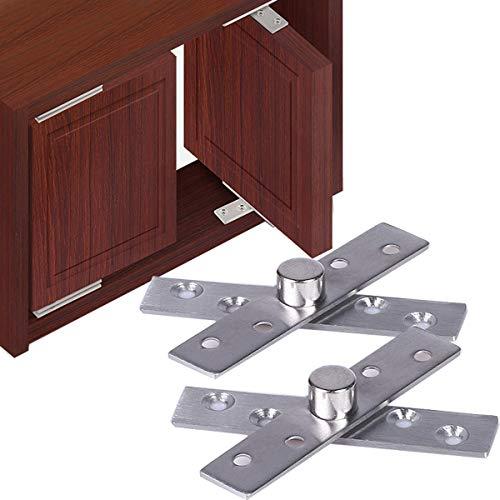 Cerniera a cerniera per porta a battente in acciaio inox superiore e inferiore 100mm x 25mm Albero rotante a 3 gradi (2 set)