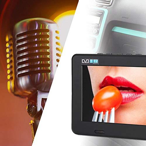 Hongzer Televisión Digital, Televisión analógica Digital portátil de 7 Pulgadas con TDT DVB-T / T2, Admite Tarjeta PVR/USB/TF, Construido en batería 1200Mah, TV HD para Coche Cámping Habitación