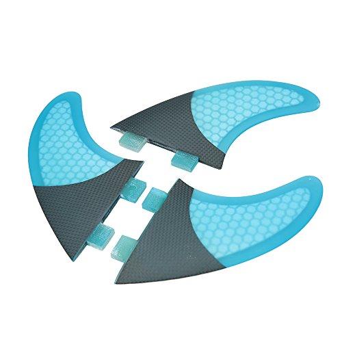 Lixada Tabla De Surf Aletas Conjunto De Panal 3 Mitad De Fibra De Carbono Surf Board Aletas G3 / G5 / G7 Surf (azul, G7)