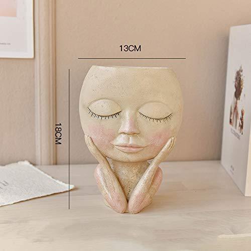 ZSJZSJ Flower Pot, Head Vase Face Planter Small Plant Pot, Indoor Succulent & Artificial Flower Planter, Adorable Planter for Home Office Decor,Doll-vase-A