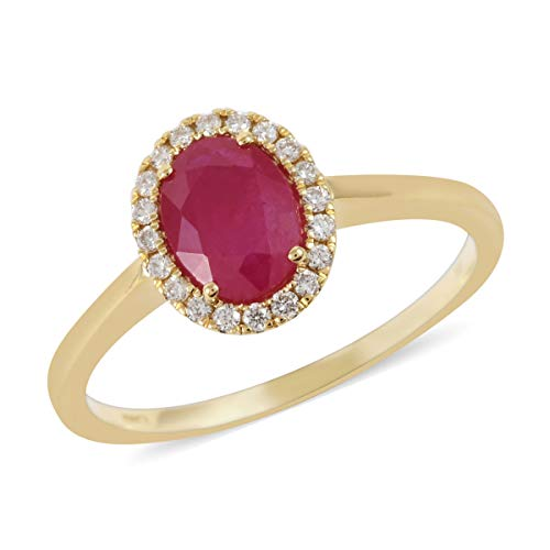 ILIANA 18K Yellow Gold AAA Premium Ruby Diamond G-H Color Si1 Clarity Halo Ring Jewelry for Women Size 6 Ct 1.3 G-H Color SI1 Mothers Day Gifts