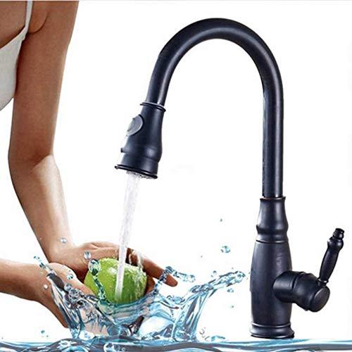 Faucet de la Cocina de latón Macizo Pull out Spray Head Kitchen Tap Single Handle Frío Hot Hot Water Mixer Tap Spout Spugmer SHOPMAR 360 Grade Mezclador DE Agua Tap (Color : Negro)