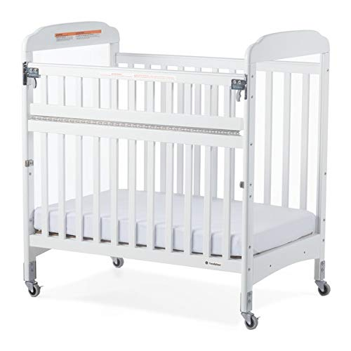 Foundations Serenity SafeReach Compact Crib with Adjustable Mattress Board and Casters, Clearview, White Wood