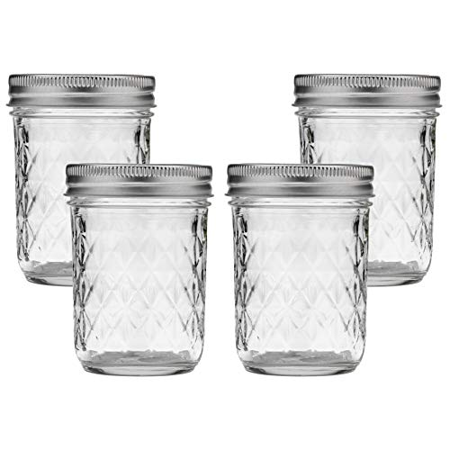 Ball Mason Jar 8-Ounces Jelly Quilted Crystal with Lids and Bands, Regular Mouth (Set of 4)
