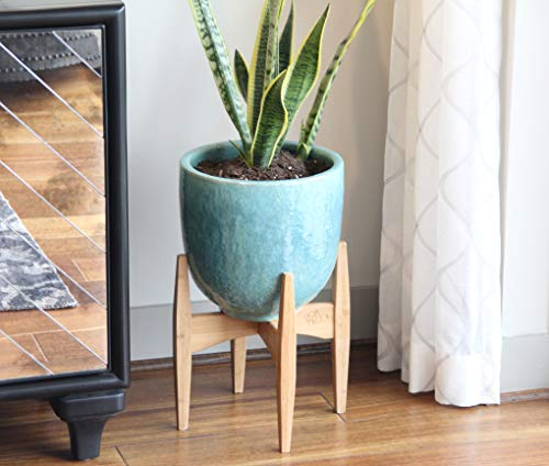 11 inch Bamboo Plant Stand - Mid Century Modern Home Decor - Indoor Ceramic Pot/Planter Holder - (Stand Only)