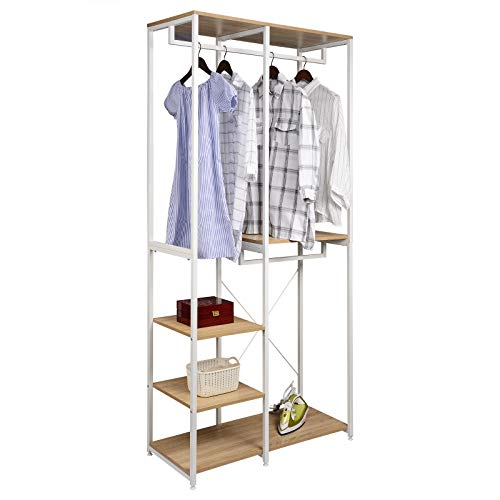 eSituro Heavy Duty Adjustable Clothes Rail, Double Rod Garment Rack,Wooden Coat Stand Clothings Wadrobe Organizer, 5 Tiers Metal Storage Shoe Rack Cabinet Shelves Shelving Unit, White