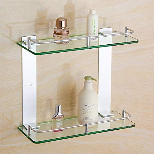PHUAN Glas badrumshylla härdat glas hyllor 2 nivåer rack skena aluminium silver sand sprayad väggmonterad förvaringsställ (storlek: 45 cm)