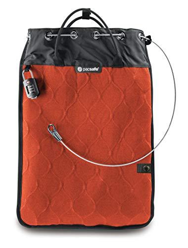 Pacsafe Travelsafe 12L - Mobiler Safe mit TSA-Zahlen Schloß, Trage-Tasche mit Anti-Diebstahl Technologie, 12 Liter Volumen, Orange/Orange