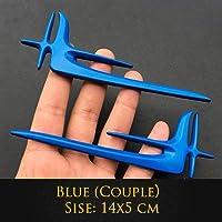 1ピース3D装飾ステッカー車の車の金属のエンブレムウィング車のスタイリングバッジベンツVW火山スワーゲンホンダトヨタ 佑树-ゆうき 心 いちろう (Colore : Blue)