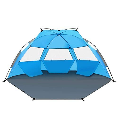 TAGVO Abri de Soleil de Tente de Plage de Pop Up, auvent instantané portatif de bébé de Plage léger 4,7 Kilos, UPF 50 Plus Protection Contre Le Soleil 3 fenêtres maillées