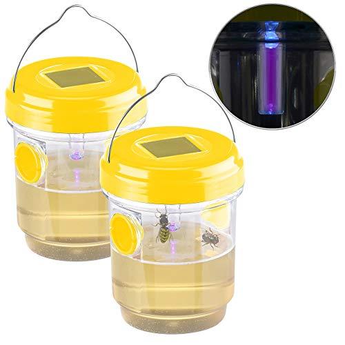 Exbuster Fliegenfalle: 2er-Set giftfreie Solar-LED-Insektenfalle z. Aufhängen oder Hinstellen (Bienenfalle)