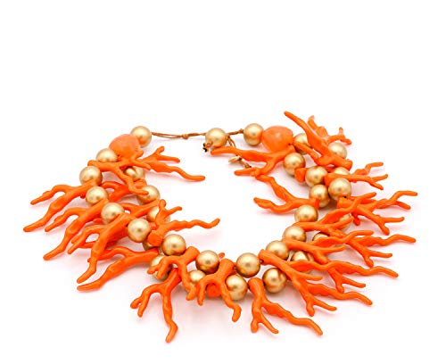 Collana corta di corallo – bigiotteria da donna – Stile girocollo a due giri e perle dorate – Qualità spagnola. e Ottone, colore: Rosso corallo, arancione