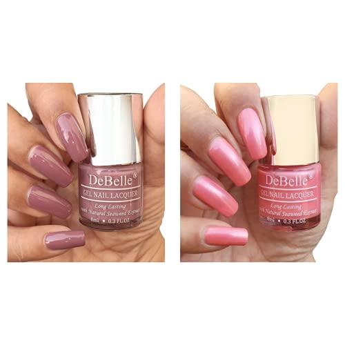 DeBelle Fleur De Pearl Gel Nail Polish Gift Set of 2 - Mauve (Majestique Mauve), Rose Pink(Miss Bliss) - 16 ml (8 ml Each)