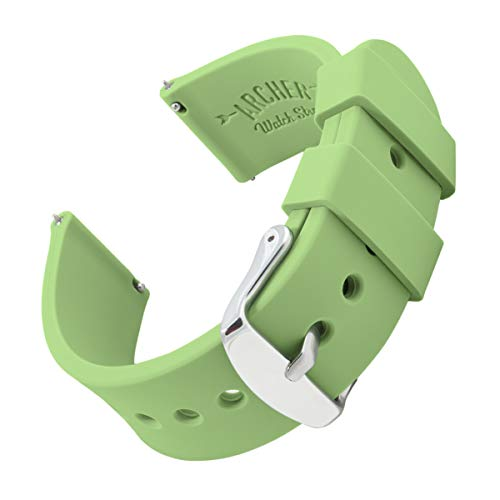 Archer Watch Straps | Repuesto de Correa Reloj de Silicona para Hombre y Mujer, Caucho Fácil de Abrochar para Relojes y Smartwatch | Verde Té, 22mm