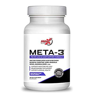 Dr. Eric Prime X Meta-3 Keto Night time Fat Burner and Sleep Aid Supplement for Men and Women (60 Veggie Capsules) Stimulant-Free Night Time Fat Burner