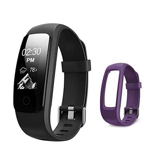 Letsfit Fitness Tracker frequenza cardiaca, Bluetooth Activity Tracker Full Orologio con Touch Screen, Sleep Tracker Calorie Counter contapassi Orologio con Elastico di Ricambio per Android e iOS