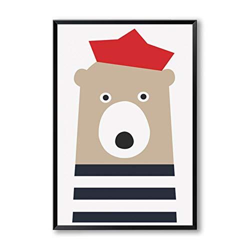 RKSZD canvas schilderij elegante poëzie Nordic Sailor dieren schattige cartoon afdichtingen beer vis boot canvas schilderij kunstdruk poster schilderij huis decoratie
