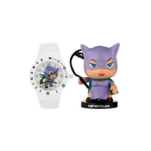 DC Comics Little Mates - witte klok voor jongens en meisjes met actiefiguur Cat Woman