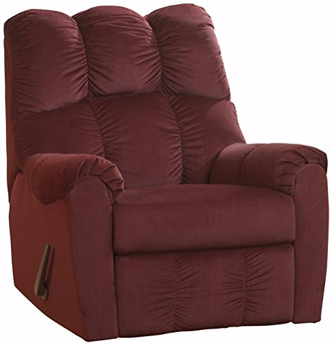Ashley Furniture Signature Design - Raulo Rocker Recliner - 1 Pull Manual Reclining Sofa - Burgundy