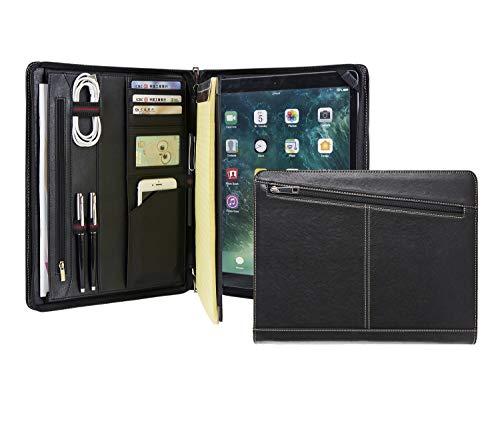 Calfinder – Carpeta de piel con cremallera para iPad Pro 12.9 2018 3rd Gen, carpeta de documentos, A4 Padfolio Portfolio, bloc de notas con soporte para iPad, regalo, color negro